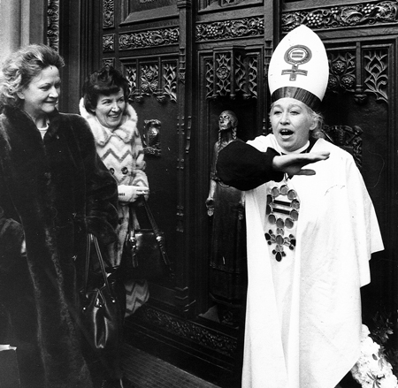 "In 1974, co-founder Patricia Fogarty McQuillan appointed herself ""Pope Patricia"" on the steps of St. Patrick's Cathedral in New York City in the face of antichoice opposition to Roe v. Wade. © CATHOLICS FOR CHOICE."