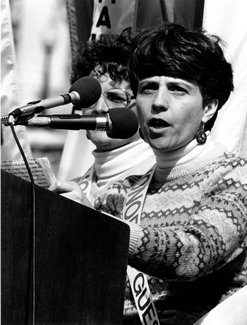 Barbara Ferraro speaks at March for Women's Lives in Washington, DC, in March 1986.