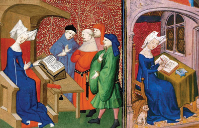 From compendium of Christine de Pizan's works, 1413. British Library, Public Domain.
