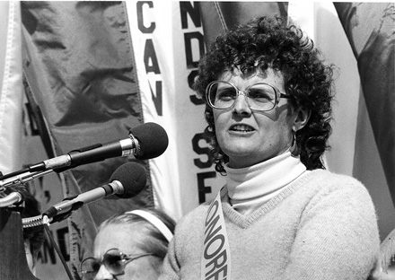Patricia Hussey speaks at the 1986 March for Women's Lives in Washington, DC, March 1986.