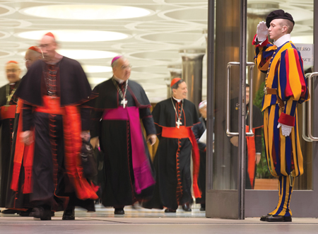 Cardinals and bishops exit the Vatican's Synod Hall after a discussion of the findings from the Vatican survey on family life, which revealed a Catholic laity that diverged from the hierarchy on issues like contraception, divorce and homosexuality. © AP/ALESSANDRA TARANTINO