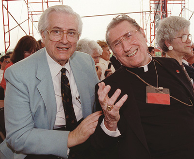 Rep. Henry Hyde and New York Cardinal John O'Connor are pictured at an antiabortion rally near the White House in 1990.